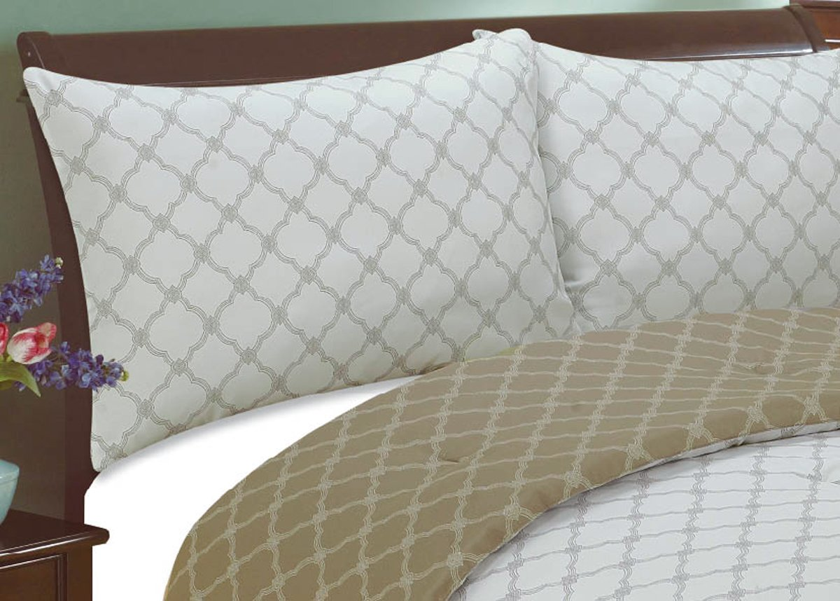 French Mediterrane Natural Comfort Int MC120BL-Q Natural Comfort Luxury Lines Microfiber Reversible Comforter Set Queen