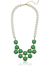 """Gold-Tone Green Cabochon Beaded Frontal Necklace, 30.5"""""""