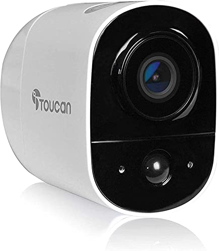 TOUCAN Wireless Rechargeable Battery-Powered Outdoor Security Camera with Night Vision, Indoor Outdoor, 1080P FHD Video with Motion Detection, 2-Way Audio, Weatherproof, Alexa Support 1 Camera