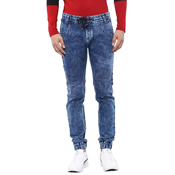 Urbano Fashion Men's Blue Slim Fit Jogger Washed Jeans Stretchable Men's Jeans at amazon