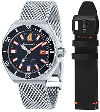 Spinnaker Mens Dumas Vintage Diver Watch - Silver/Black