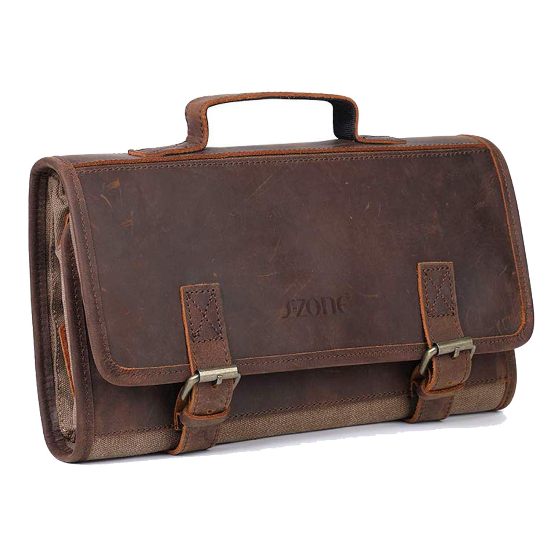 S-ZONE Toiletry Bag Travel Dopp Kit Canvas Genuine Leather Organizer Storage Great Gift