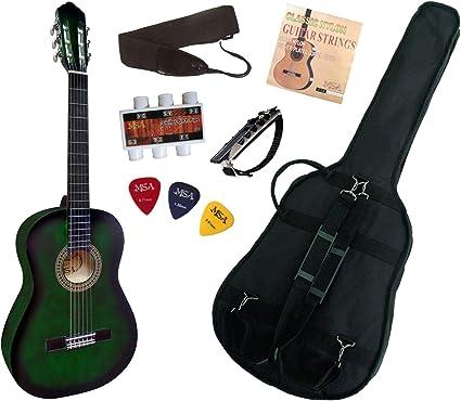 Pack Guitarra clásica 4/4 con 6 accesorios ~ Neuve & garantía, verde: Amazon.es: Instrumentos musicales