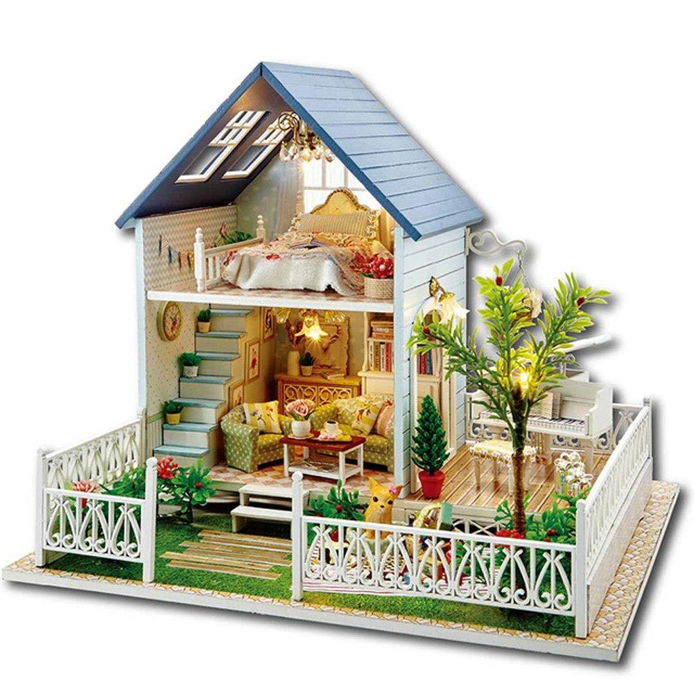 Evav Dollhouse Miniature DIY House Kit, Handassembled Educational Toy Building Model Birthday Gift  Nordic holiday