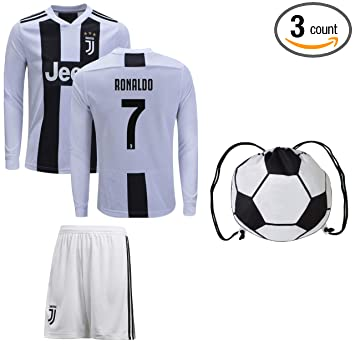 low priced 64f65 d3593 Cristiano Ronaldo Juventus #7 Youth Soccer Jersey Home/Away Long Sleeve  Shorts Kit Kids Gift Set