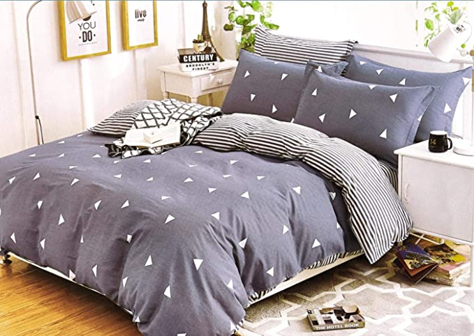 Louisiana Bedding Horizontal Navy /& White Stripe Duvet Cover Set 100/% Cotton 200 Thread Count-SuperKing