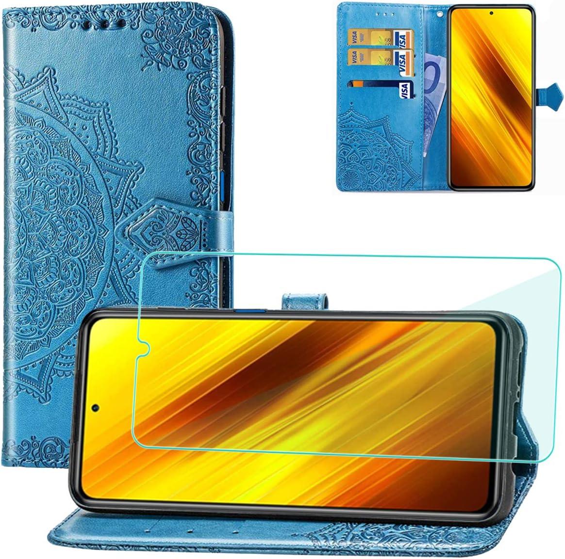 Yohii Funda Xiaomi Poco X3 NFC + Protector de Pantalla, Libro Caso Piel PU Soporte Plegable Ranuras Cartera con Tapa Tarjetas Magnético Cuero Flip Carcasas, Case para Xiaomi Poco X3 NFC - Azul