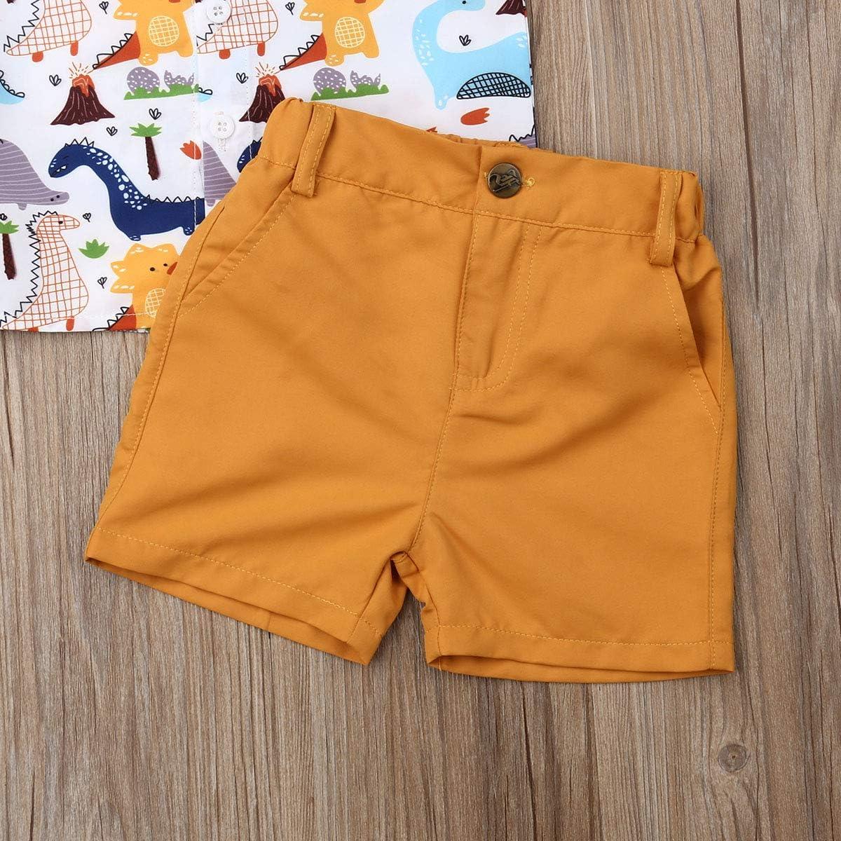 Pantaloncini Bambino da Spiaggia Carolilly Completo Bambino Set Coordinato 2 Pezzi Camicia Magliette Estive Stampa Dinosauro