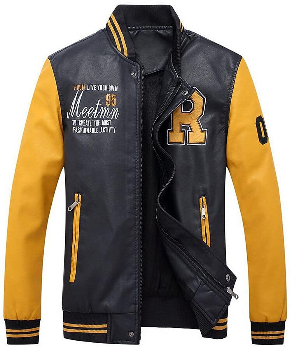 JIAX Mens Fashion Embroidery PU Leather Winter Thick Baseball Biker Jacket Coat