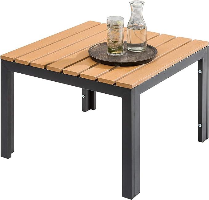 Invicta Interior Wetterfester Garten Tisch Orlando Lounge 60cm schwarz stabile Beine aus Aluminium Outdoor Gartentisch Outdoortisch