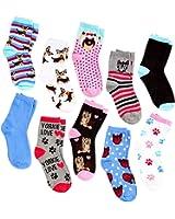 Women's or Teens Dog Breed Socks (10 Pair) Fits Size 9-11 (Yorkie)