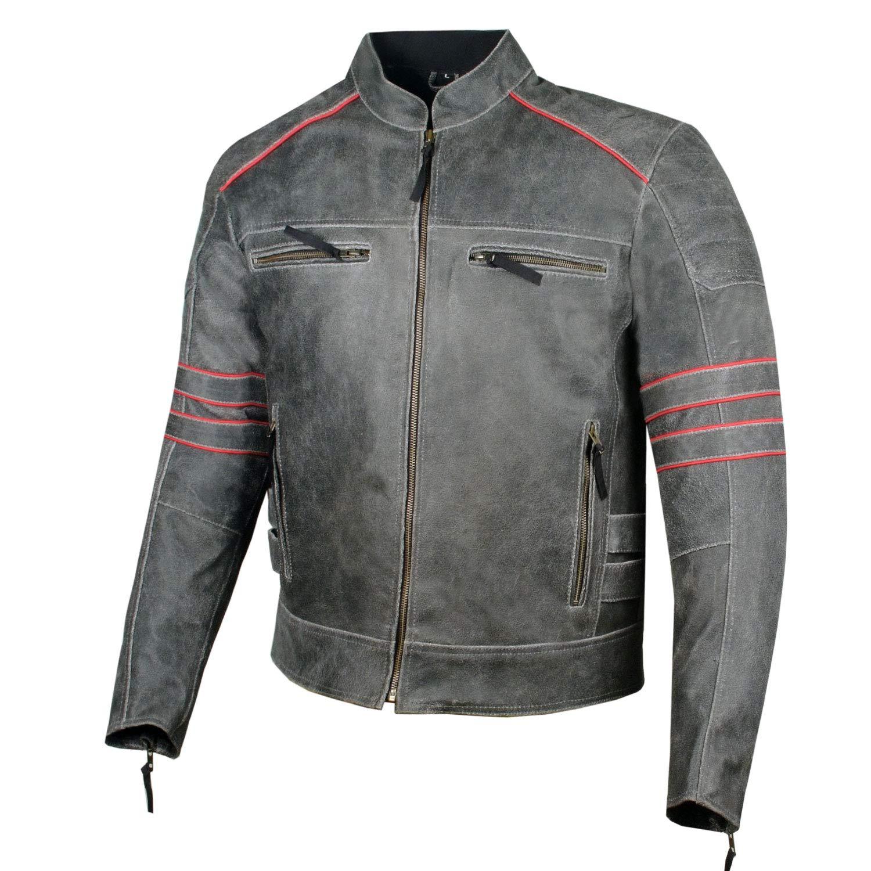Men's Brotherhood Classic Leather Motorcycle Distressed Armor Biker Jacket S