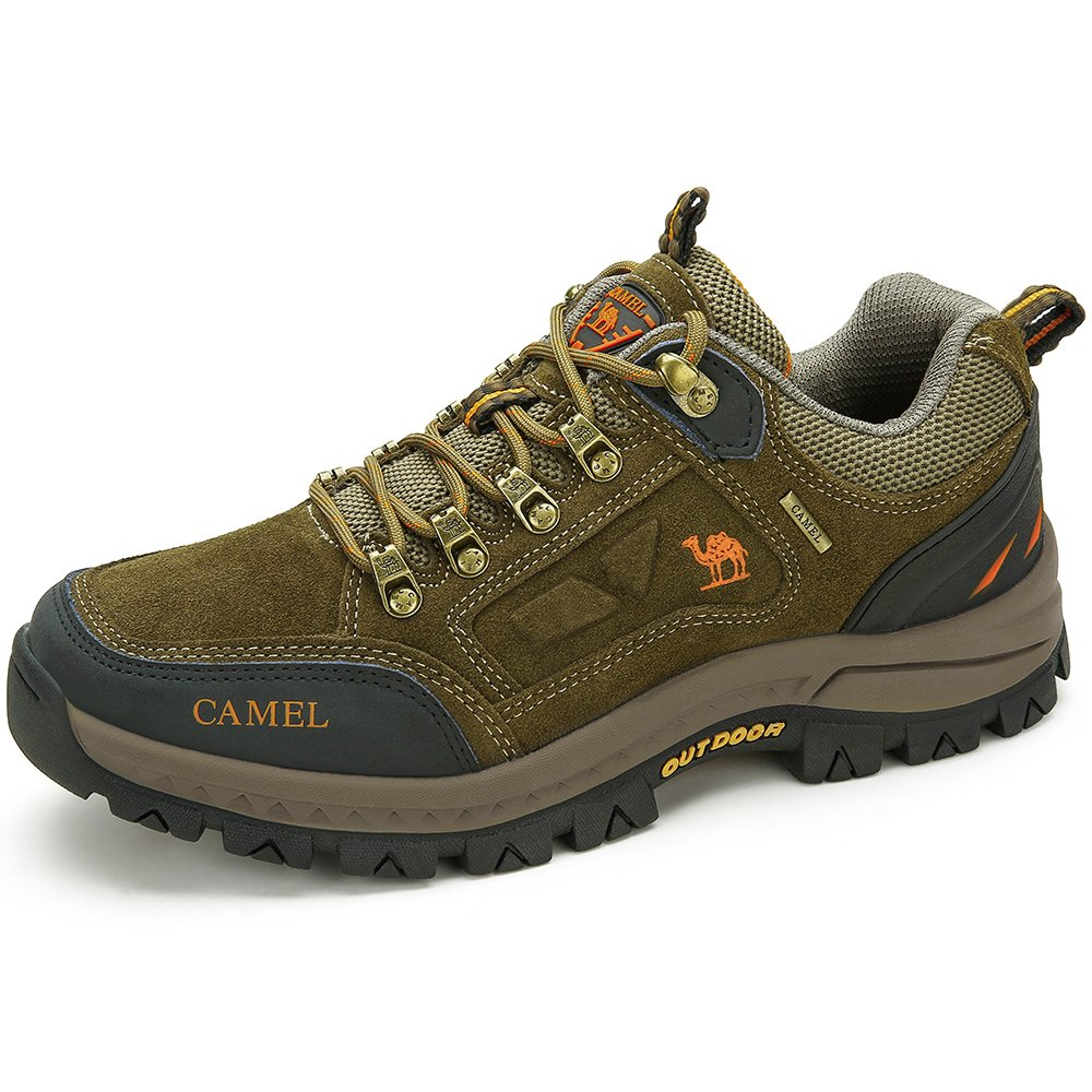 CAMEL SHOES Men\'s Outdoor Leather Hiking Shoes Breathable Lightweight Sneaker for Walking Trekking Khaki 270 CN 9 US-270 mm(Fit 9.5 US-10 US)