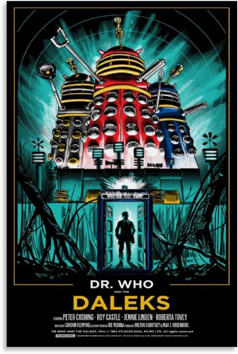 YOSON Dr. Who and The Daleks Wall Art Decor Canvas Painting Poster Print Canvas Art Pictures for Room Home Decor 16x24inch(40x60cm)