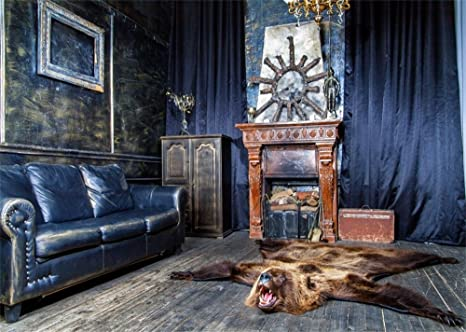 Outstanding Laeacco 7X5Ft West Cowboy Shabby Helm Backdrop Vintage Fireplace Suitcase Droplight Leather Sofa Frame Wolfskin Shabby Wood Floor Interior Curtain Squirreltailoven Fun Painted Chair Ideas Images Squirreltailovenorg