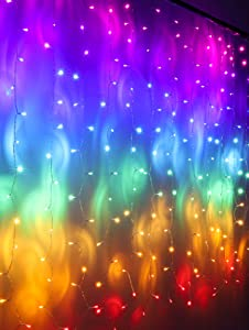 Rainbow Fairy String Curtain Lights with Fully Dimmable Touch Switch, Hanging LED Icicle Rainbow Lights Curtain for Girls Bedroom, Teen Room, Kids Room, Unicorn Room, Birthday, Holiday Décor (Rainbow)