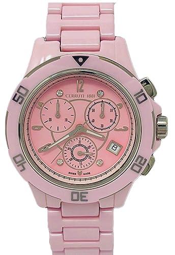 3f98784db9 Cerruti 1881 Analogue Quartz Movement Watch with Ceramic Bracelet Pink  Diamonds CRWM033Z291R: Amazon.co.uk: Watches