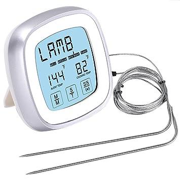 AMIR Barbacoa Termómetro, termómetro digital, barbacoa termómetro, pantalla táctil Horno Termómetro con tiempo