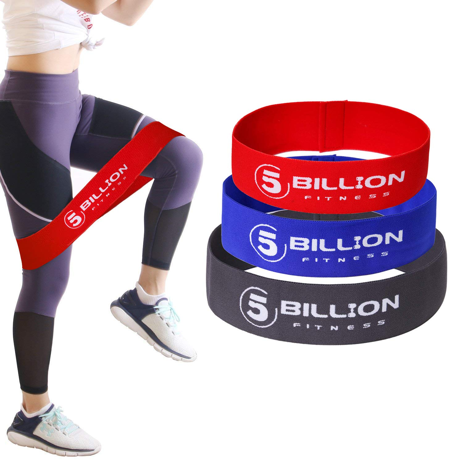 for Booty Soft /& Non-Slip Design Loop Set 5BILLION Fabric Resistance Bands Hip Exercise Bands Thigh /& Glutes