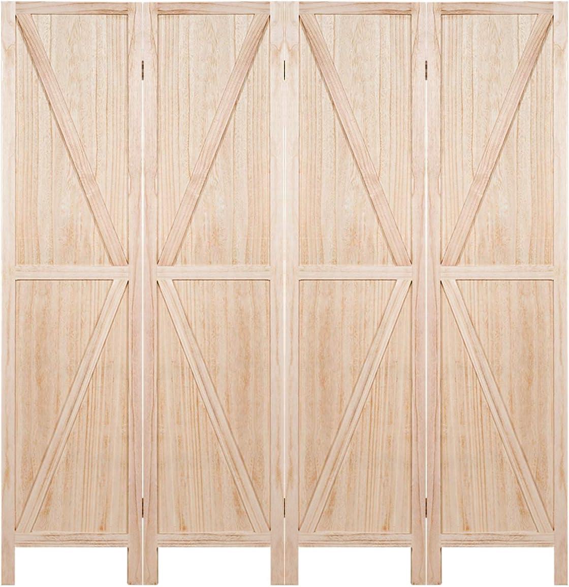 Giantex 4 Panel Folding Screen, 5.6 Ft Screen Room Divider w V-Shaped Long Edge Ornament, Wood Folding Privacy Screens Natural