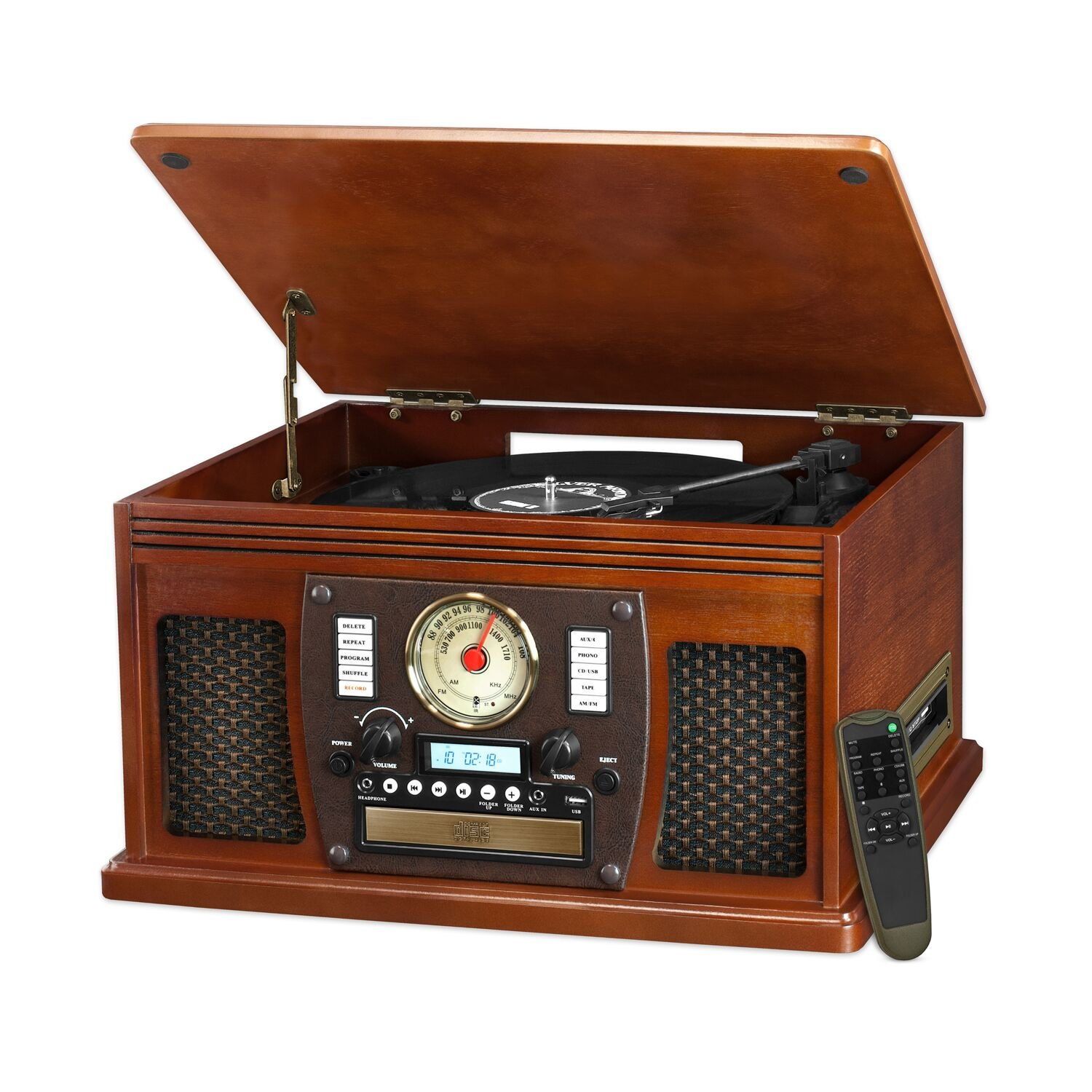 Innovative Technology Victrola 8-in-1 Bluetooth Turntable Entertainment Center