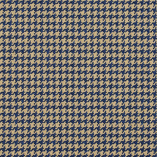 E855 Blue and Beige Classic Houndstooth Jacquard Upholstery Fabric By The Yard (Fabric Houndstooth Upholstery)