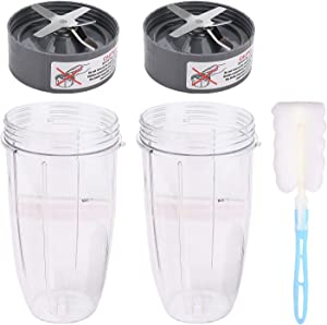 2 Pack 32oz Colossal Cup and Extractor Blade with Cup Brush Replacement Parts Blender Accessories Compatible with the NutriBullet 600W and Pro 900 High-Speed Blender NB-101B NB-101S NB-201