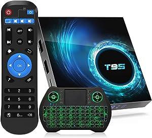 2021 Android 10.0 TV Box T95 4GB RAM 128GB ROM Allwinner H616 Quad-core ARM cortex-A53 CPU, 3D 4K 6K UHD Output H.265 2.4G/5G WIFI 100M BT5.0 Smart TV Box with 2.4G Backlit Mini Wireless Keyboard