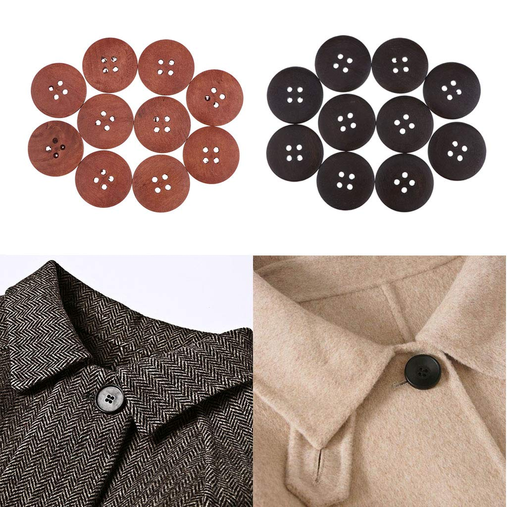 10pcs Vintage Wooden Buttons Coffee Color 50mm Smooth 4 Holes Wood Button for DIY Sewing Craft Decoration Notebook Dark Brown