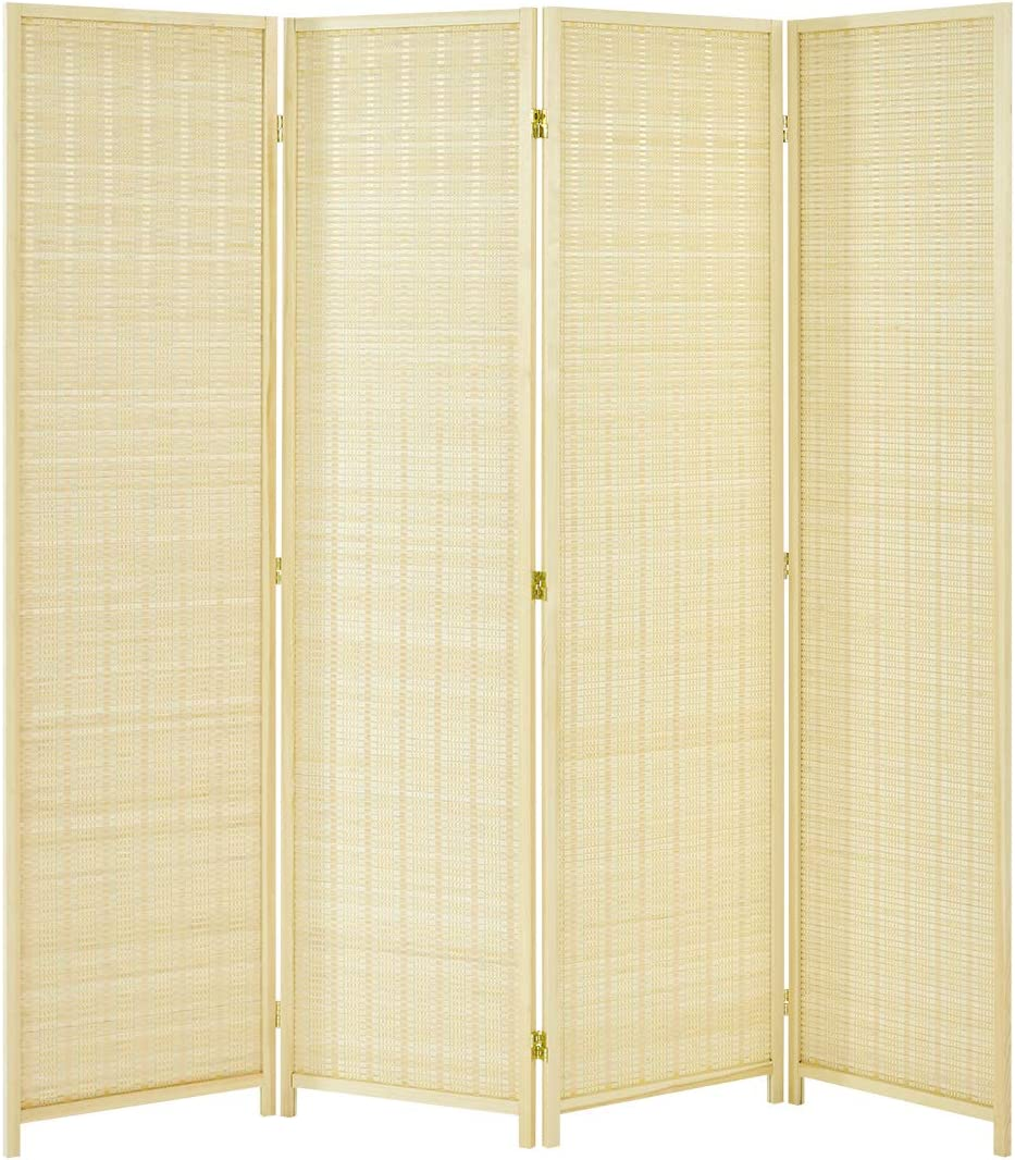 Esright 4 Panel Bamboo Room Divider, 6 Ft Tall Folding Privacy Screen Room Divider, Freestanding Partition Wall Dividers for Office,Bedroom, Beige
