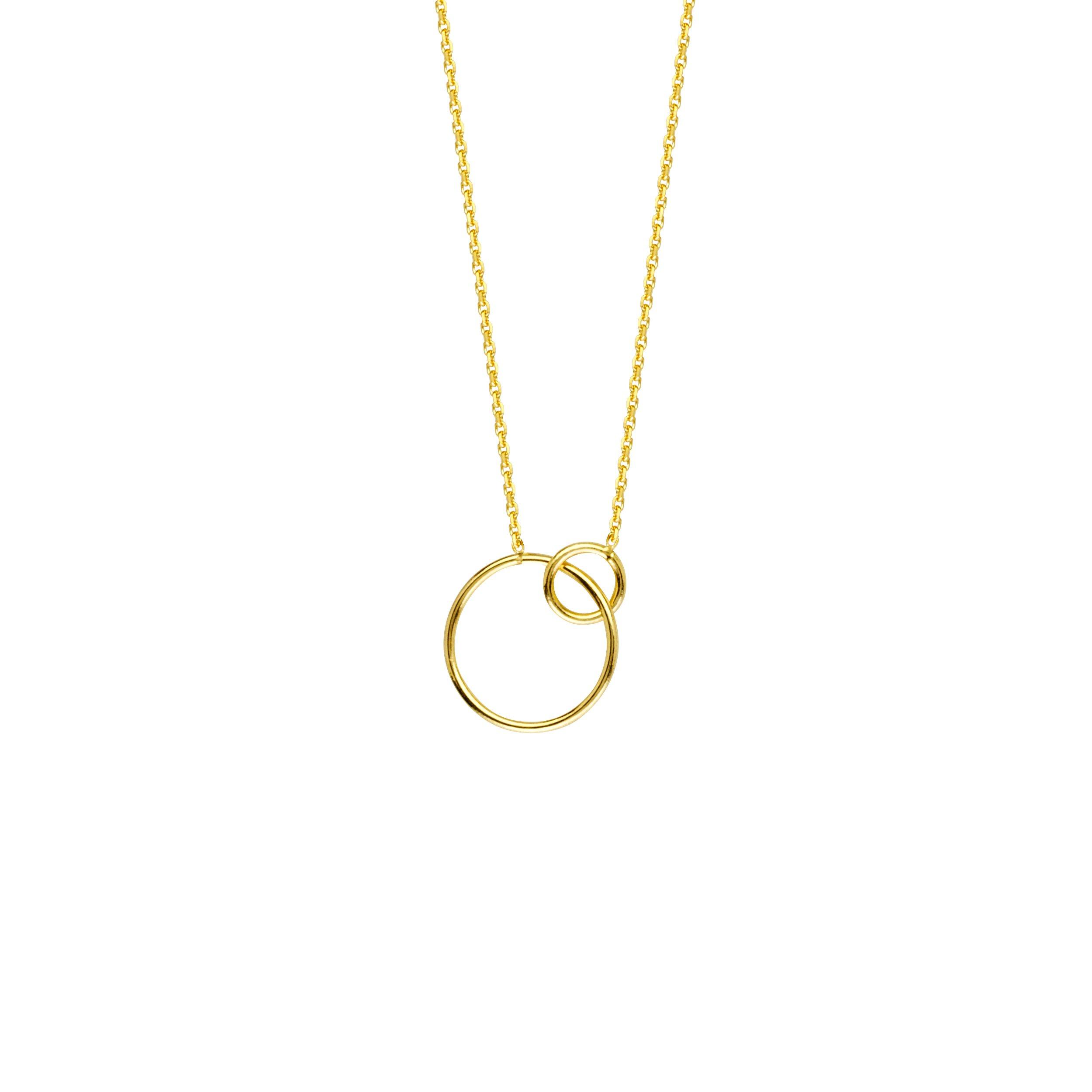 Gold Necklace, Interlocking Rings Adjustable. Necklace 5M Sr by DiamondJewelryNY (Image #1)