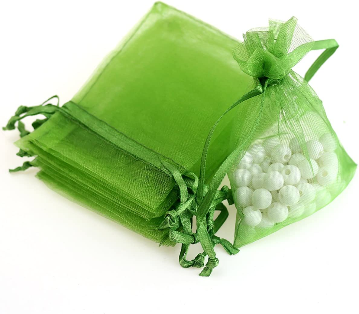 """Akstore 100Pcs 2.8""""x3.6""""(7x9cm) Sheer Drawstring Organza Jewelry Pouches Wedding Party Christmas Favor Gift Bags (Army Green)"""