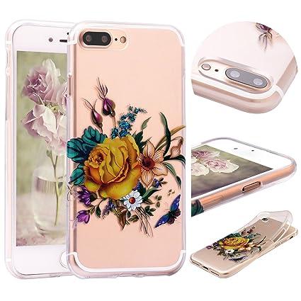 afc05d8af0f Funda iPhone 8 Plus Transparente , Funda iPhone 7 Plus Flor , ZXK CO Carcasa  de Silicona Suave Case Cover Protección cáscara Soft Gel TPU ...