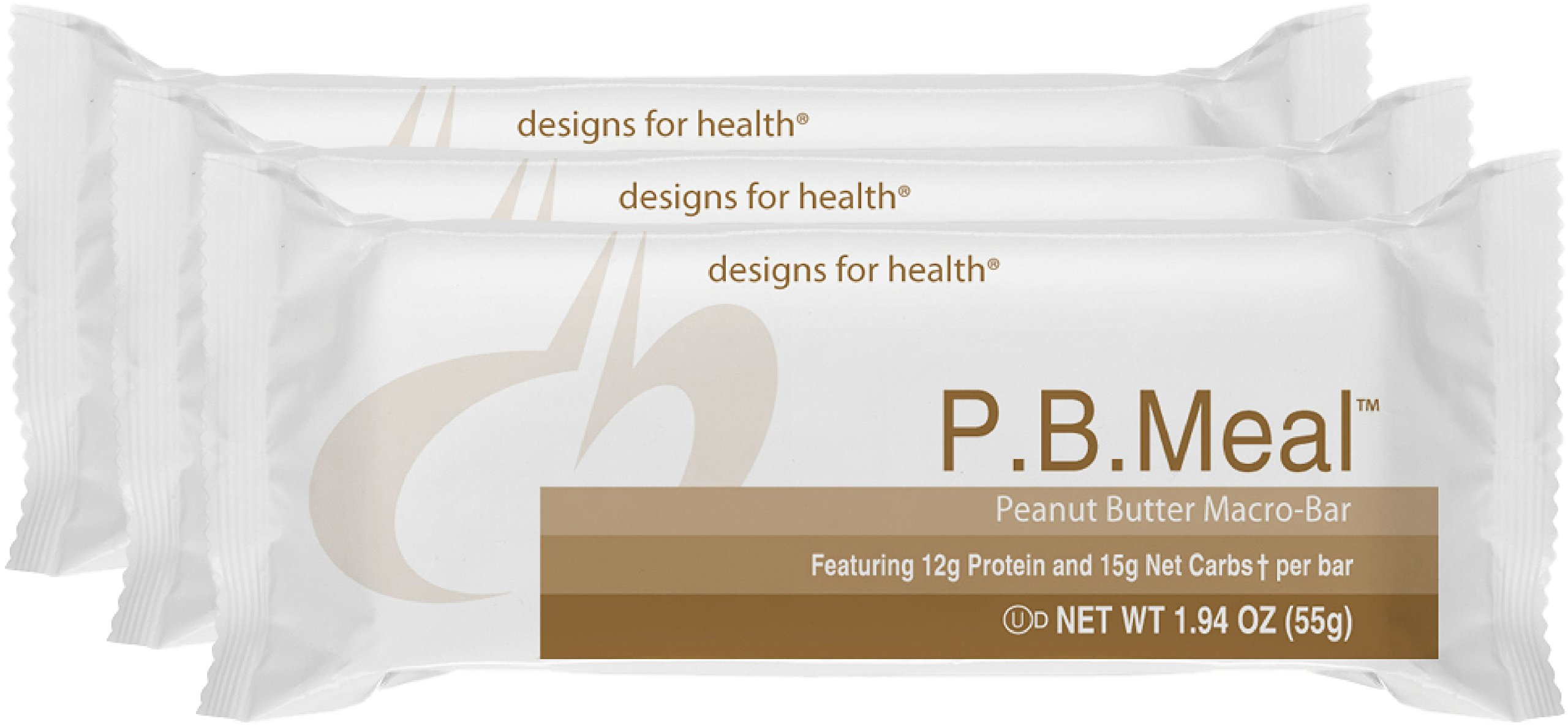 Designs for Health - P.B. Meal Bar - Whey + Rice Protein for Sustained Energy, Fructose + Sucrose Free, 12 Bars by designs for health (Image #1)