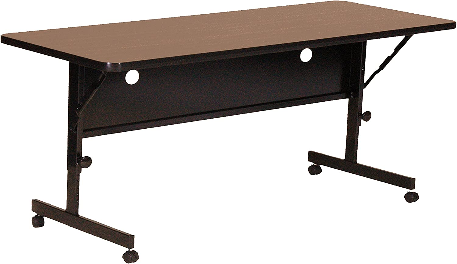 "Correll Deluxe Flip Top Table, 24"" x 48"", Walnut High Pressure Laminate Top, Rectangle,"