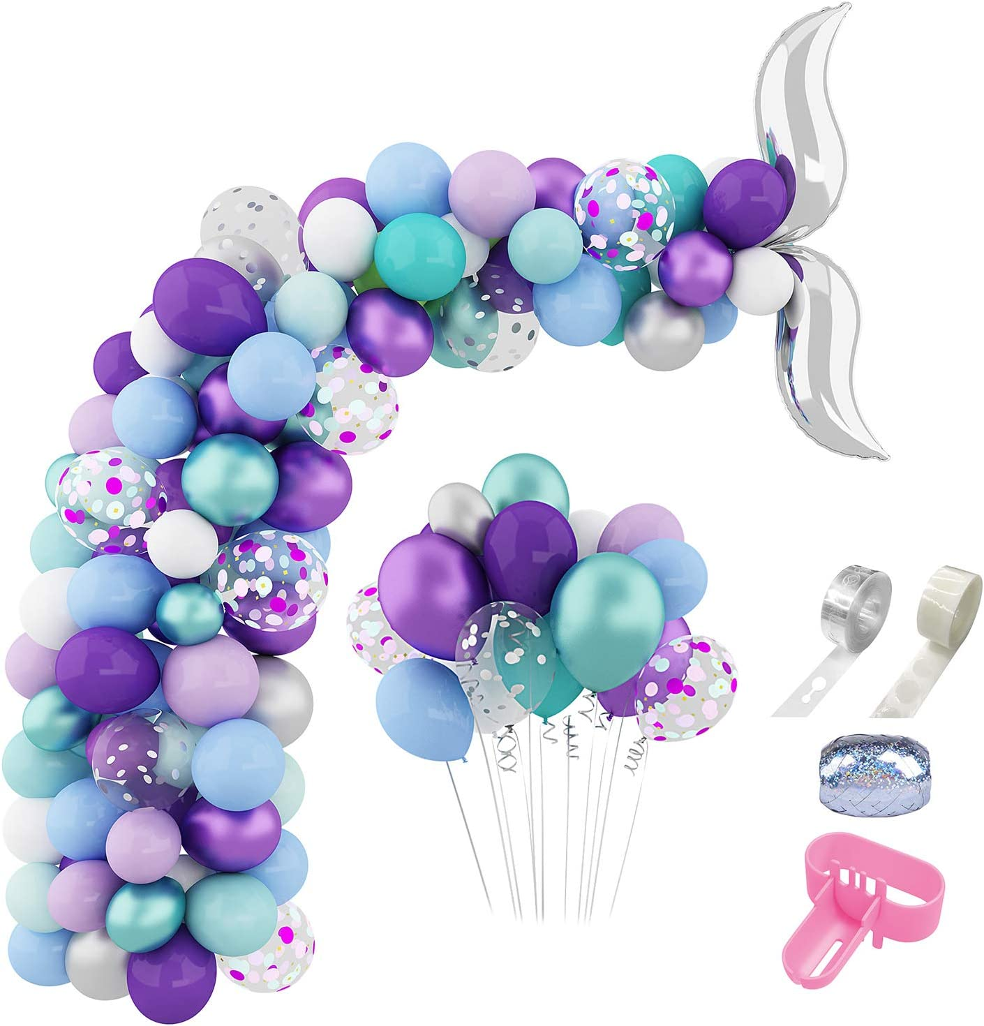230 Pcs Mermaid Tail Balloons Arch Garland Kit 12'' 10'' 5'' Green Purple Metallic Confetti Pink Blue White Latex Balloons Set for Mermaid Theme Birthday Party Supplies Under the Sea Party Decorations with Tying Tool, Balloon Strip, Glue Points & Ribbon