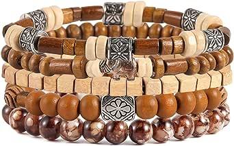 HZMAN Wrap Bracelets Men Women, Hemp Cords Wood Beads Ethnic Tribal Bracelets, Leather Wristbands