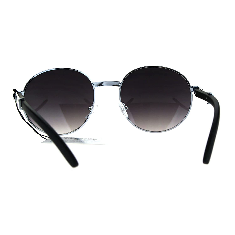 ce9ceec40d Mens Large Round Wood Buff OG Gangster 90s Luxury Shades Sunglasses Silver  Smoke  Amazon.co.uk  Clothing