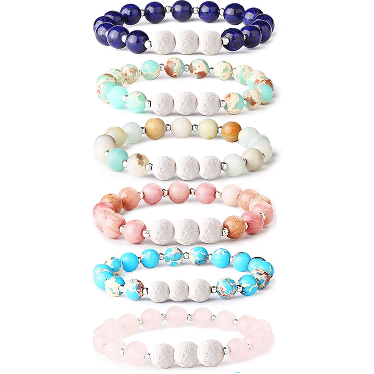 Adramata 6Pcs Lava Rock Stone Aromatherapy Essential Oil Diffuser Bracelet for Women Girls Natural Gemstone Healing Crystal Bracelet by Adramata