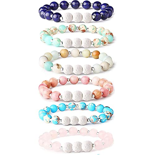 Fashion Jewelry Essential Oil Lava Stone Diffusing Bracelet Aromatherapy Jewellery With Gems.