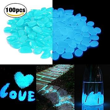 Blue Candora/® Decorative Stones 200pcs Man-made Luminous Cobblestone Glow in the Dark Pebbles Stone for Garden Walkway Outdoor Fish Tank