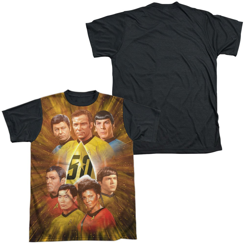 Star Trek 50th Anniversary Crew Adult Black Back 100/% Poly T-Shirt