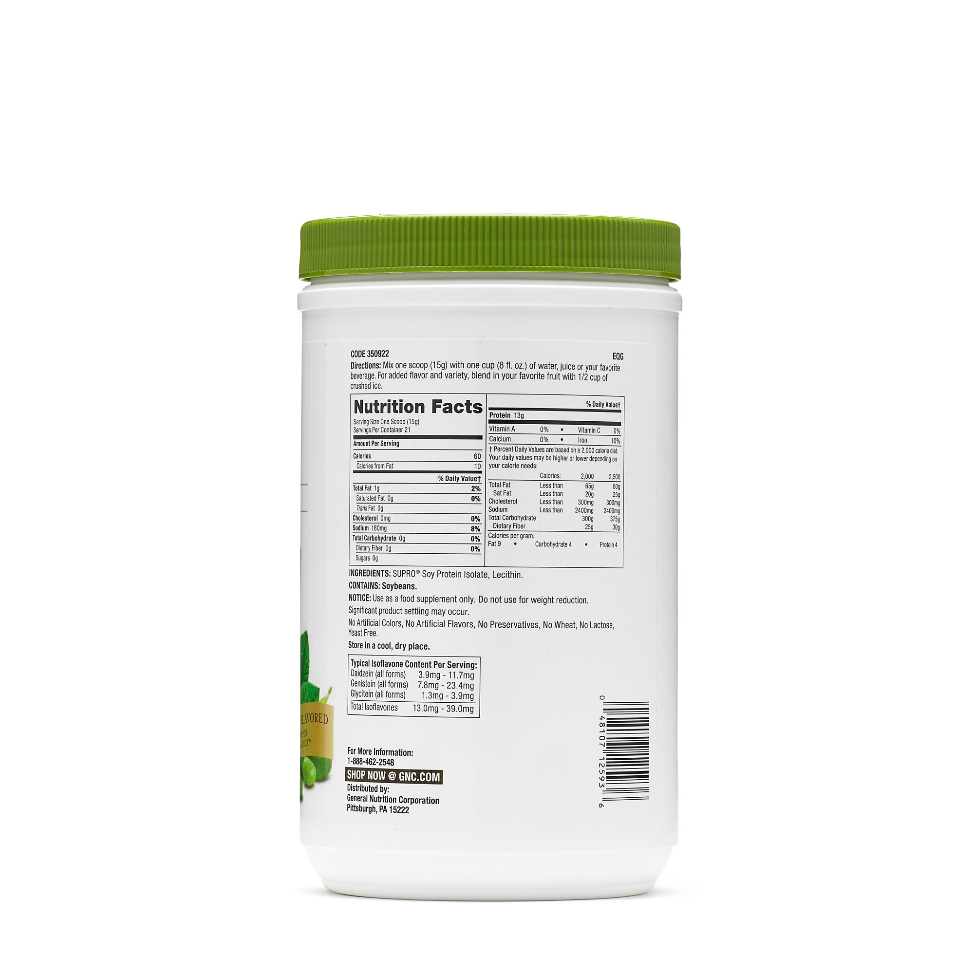 GNC SuperFoods Soy Protein, Unflavored, 21 Servings by GNC (Image #2)