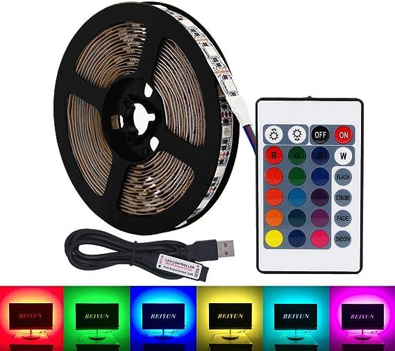 USB RGB LED tira de luz,5V 5 metros 300leds 5050 Tira de luz suave ...