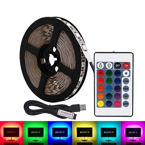 USB RGB LED tira de luz,5V 5 metros 300leds 5050 Tira de luz suave coloreada ...