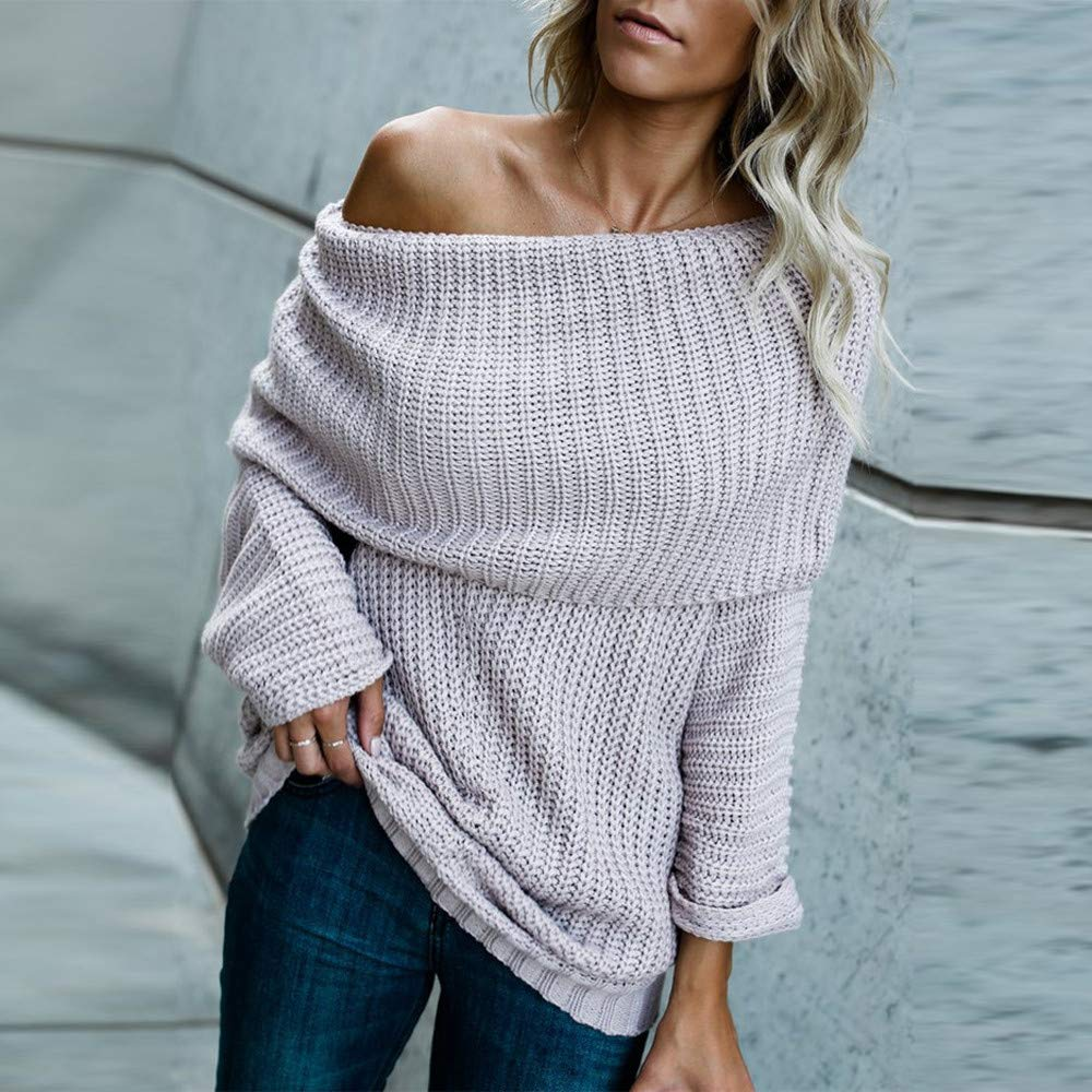 Amazon.com: shusuen Women Off Shoulder Strapless Sexy Solid Color Knitted Pullover and Sweater Loose Large Size Large Lapel Long Sweater: Sports & Outdoors