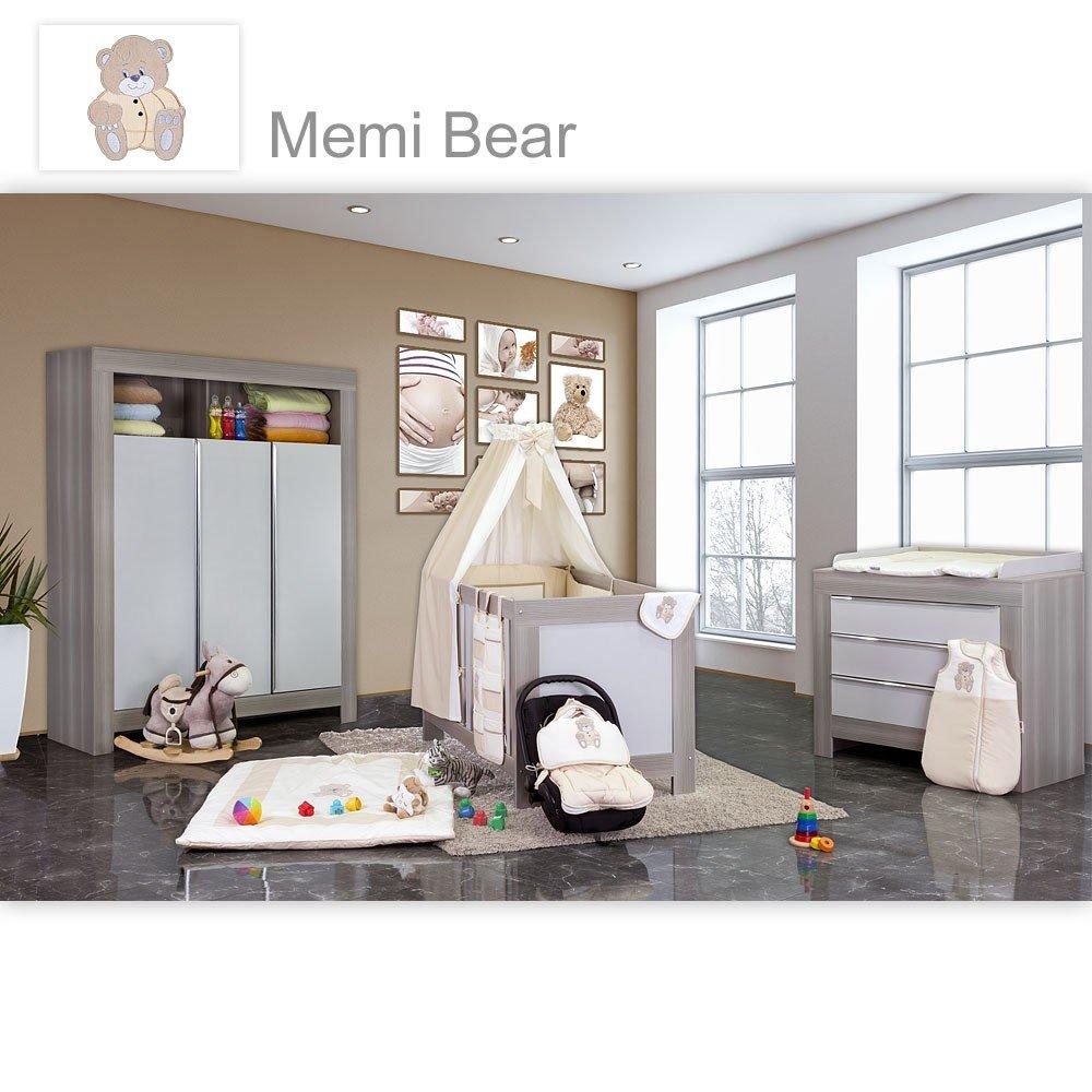 Babyzimmer Felix in akaziengrau 10 tlg. mit 3 türigem Kl. + Set Memi Bear Beige