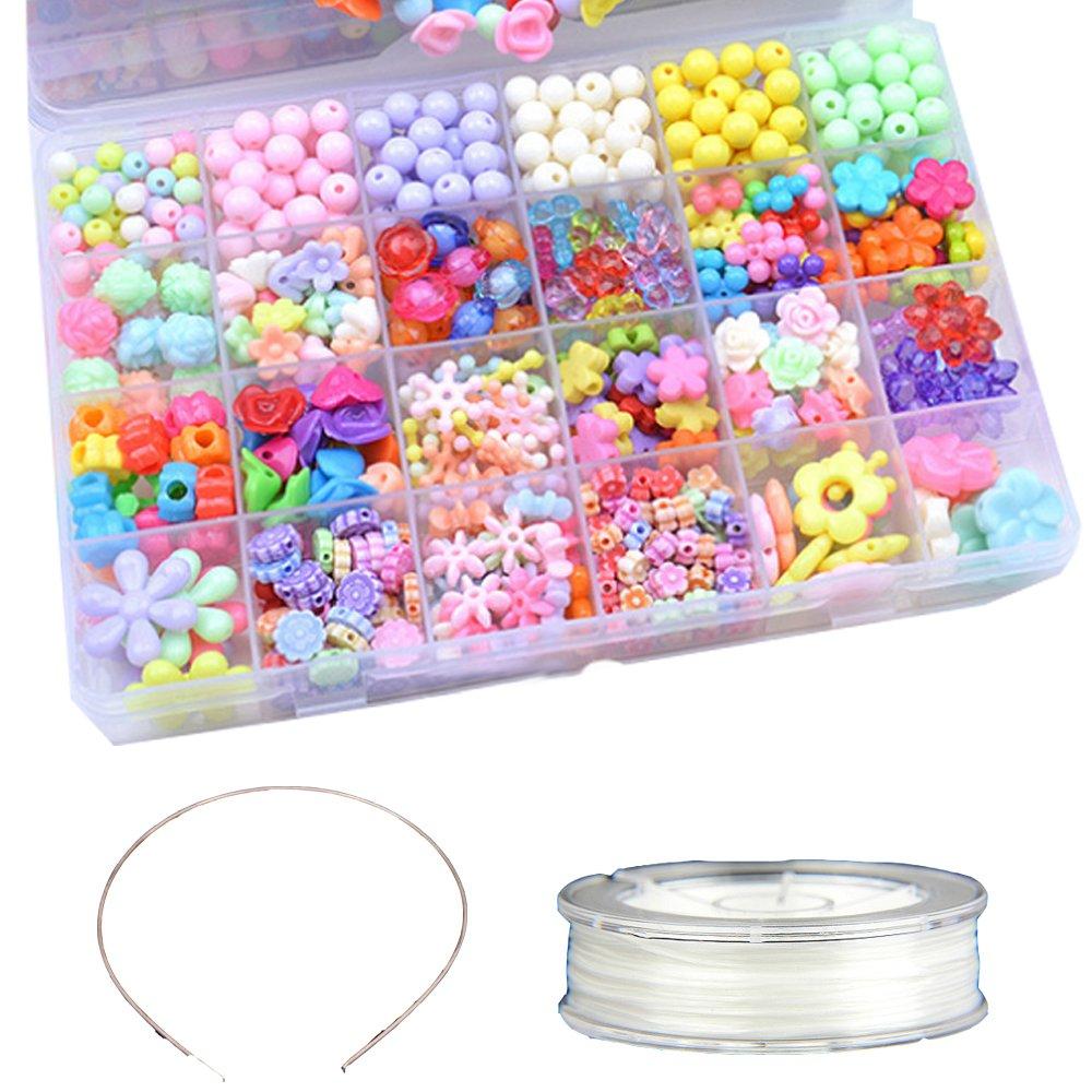 Runfon DIY Perlen Kinder Bunte Halskette und Armband Handwerk, Perlenschnur mit verschiedenen Arten und Formen Multi-Color Acryl Perlen Kinder Schmuck 100% Neu