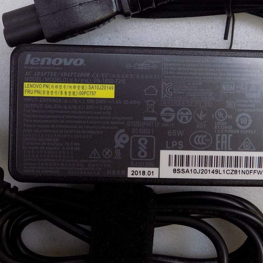 New Genuine Power AC Adapter With Cord For Lenovo ThinkPad 65 Watt 00PC757