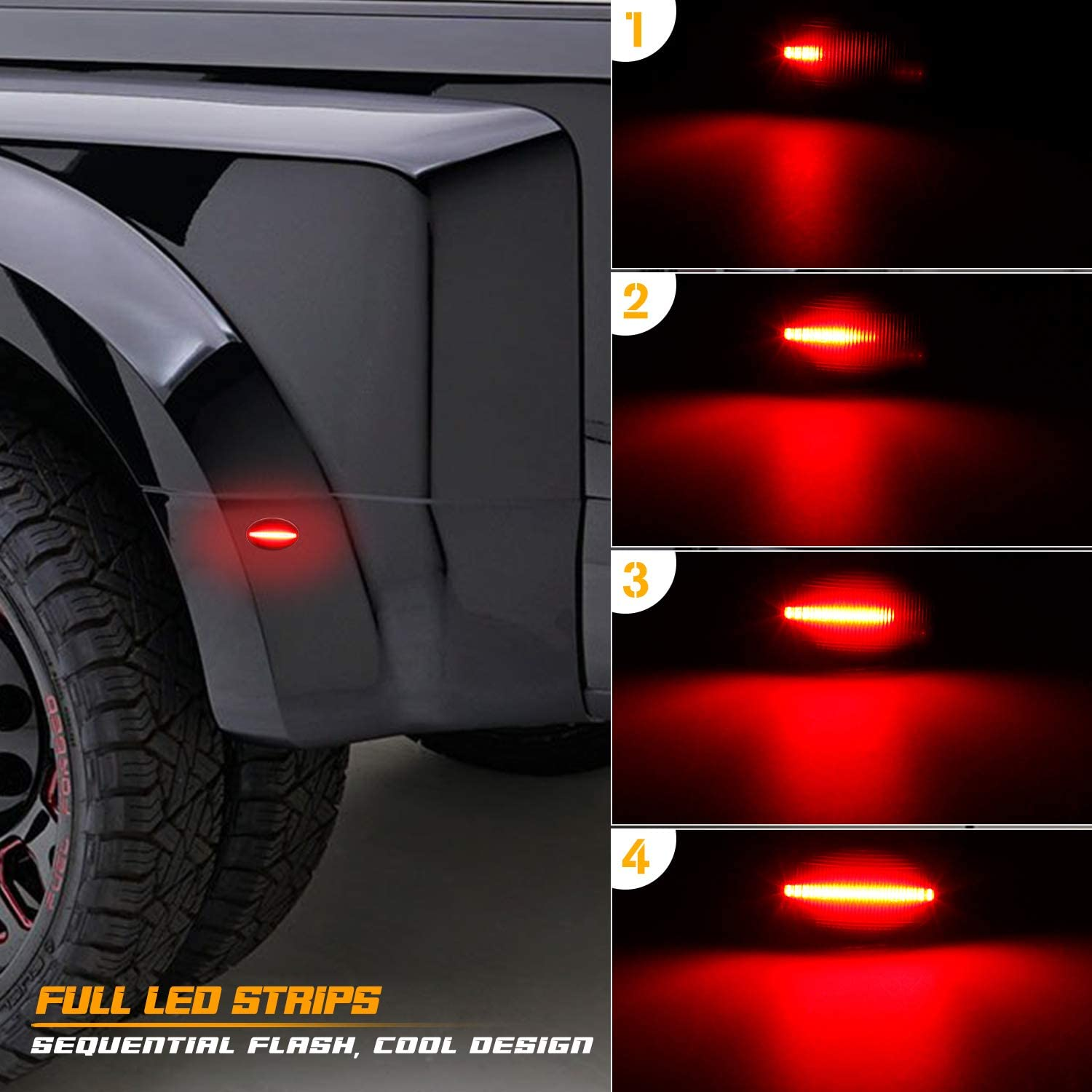 Pack of 4 RUXIFEY Sequential Dynamic LED Dually Bed Side Marker Lights Fender Sidemarkers Compatible with 1999-2010 Ford Super Duty F350 F450 F550 Smoked